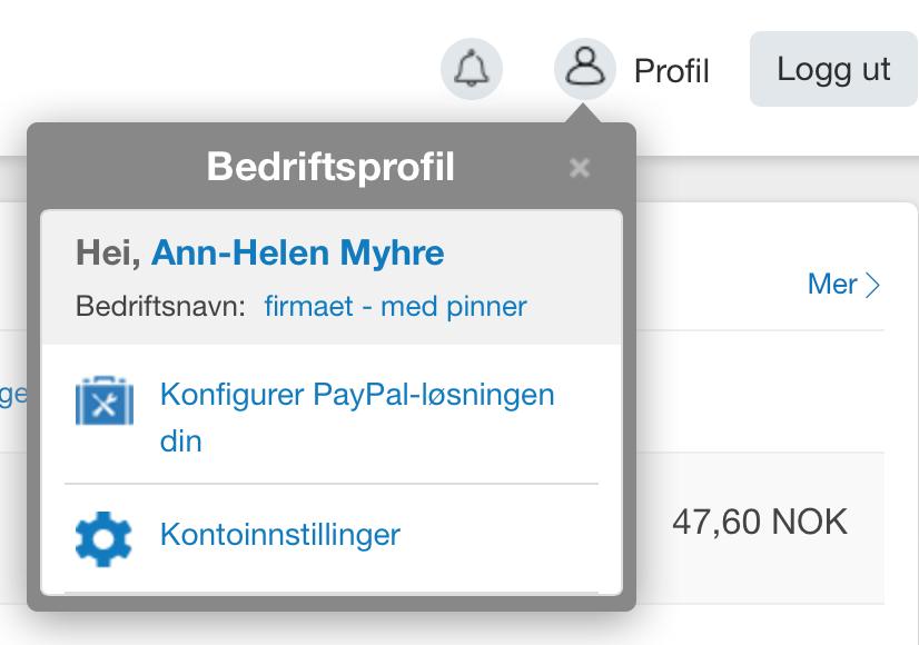 Alt du trenger å vite om dine instillinger i Paypal finner du under Profilen øverst i høyre hjørne.