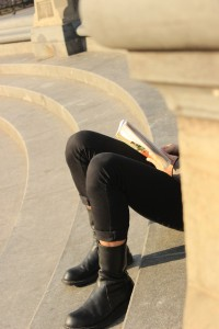 Reader at Washington Square Park