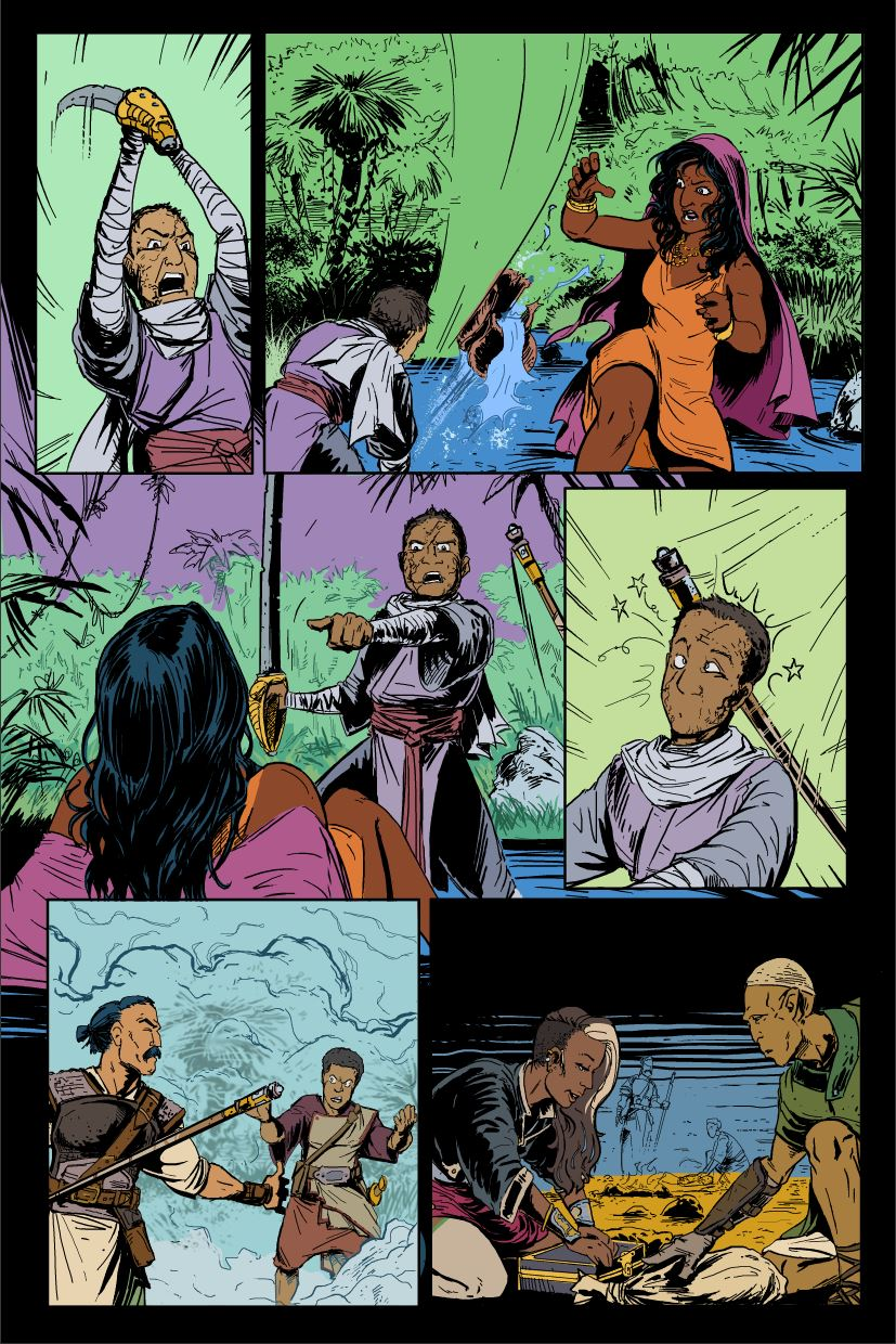 "Page 11 of M&A #2, with flat colours on the ""FLAT"" layer."