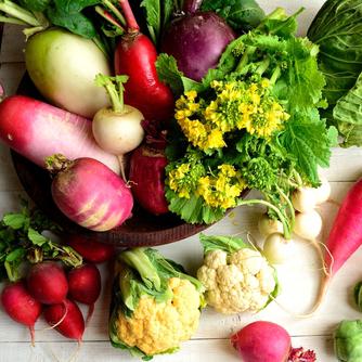 信頼できる生産者から厳選して取り寄せる無農薬の新鮮野菜。魚介も毎日市場から直送しています。