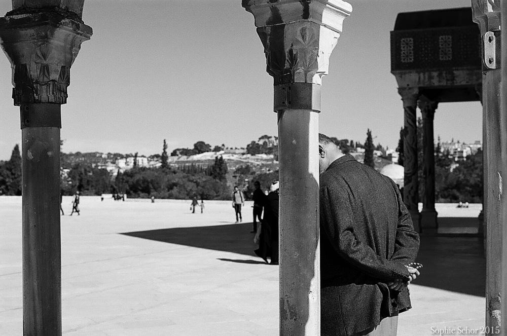 Man walking on Haram al-Sharif (Temple Mount), Jerusalem, January 2015