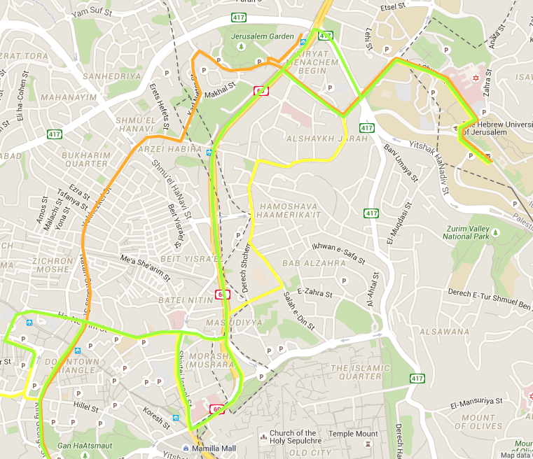Click to view larger map. The yellow line is #17, the light green is #19 and the orange is #34. All three buses have a terminal stop at the Hebrew University on Mount Scopus.