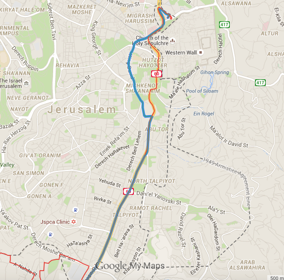 Arab Bus Line 231 and 232 which runs down Dereh Hebron and connects the Old City to the Southern Palestinian neighborhoods by traversing several Jewish areas of West Jerusalem. Click to enlarge.