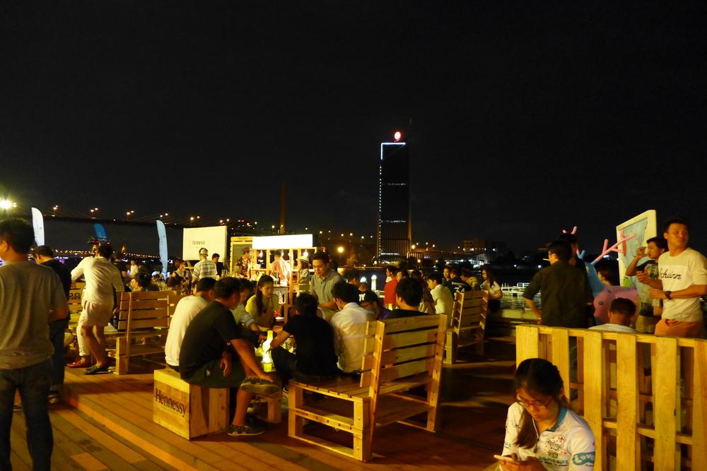 Other side of the Choapaya River is Kasikorn bank Building and Rama 9 Bridge