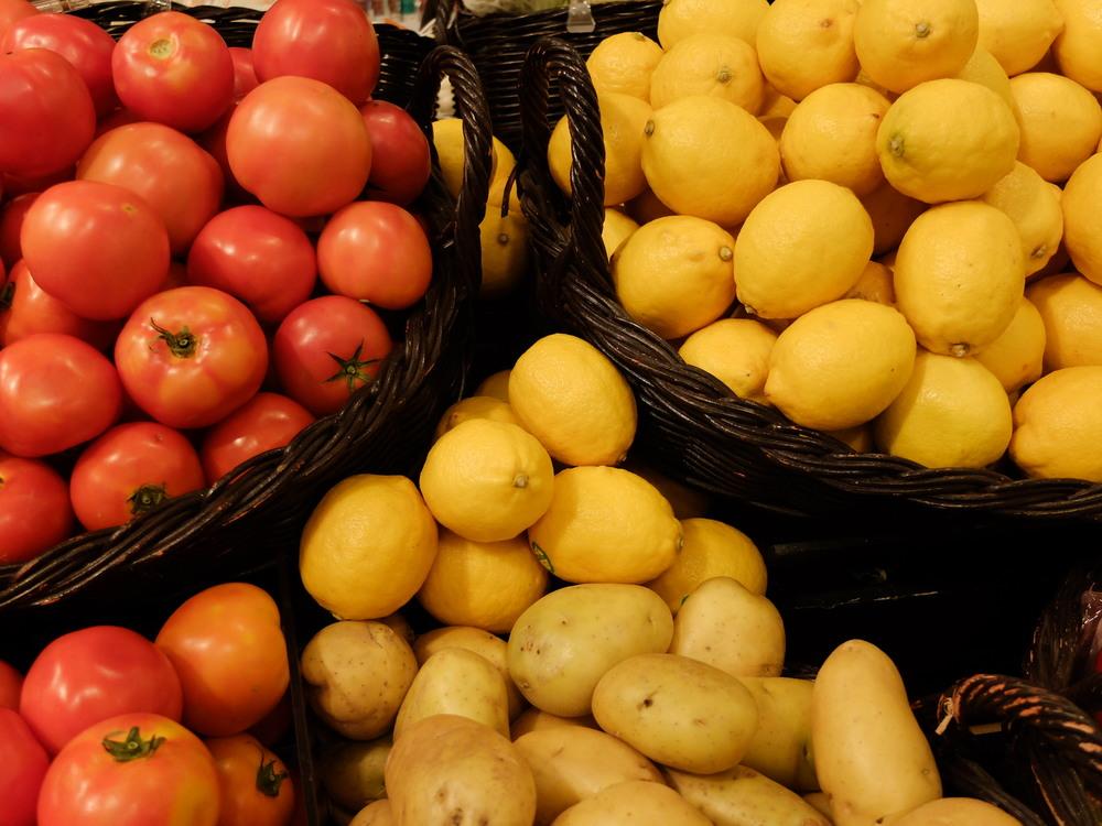 Fresh Tomatoes and Lemon at Gourmet Market