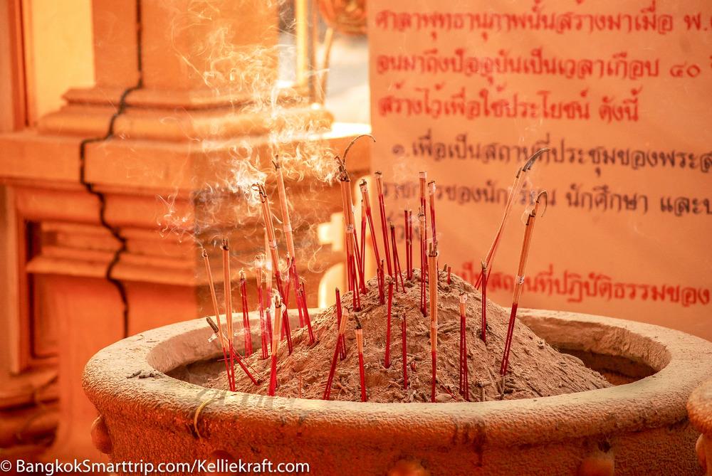 Incense at Wat Kiriwong Nakhonsawan Thailand