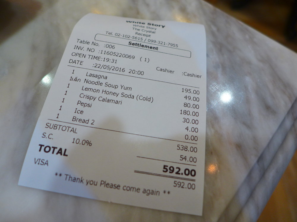 Receipt at White Story