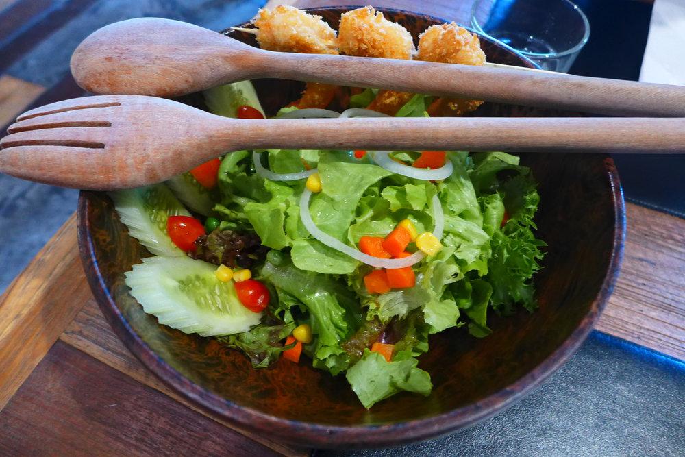 Shrimp Salad in Wood Bowl