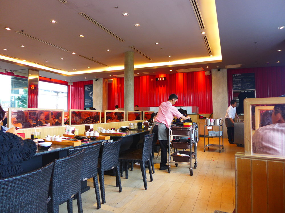 The buffet grilled meat is popular in thailand.