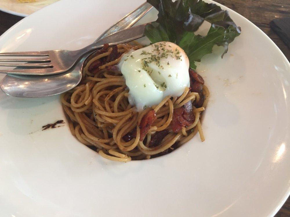 Spaghetti Stir Fired with Bacon taste good. Yummy