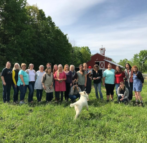 The teachers, the hosts, the students, and of course, Joan, Tammy's Livestock Guardian Puppy.