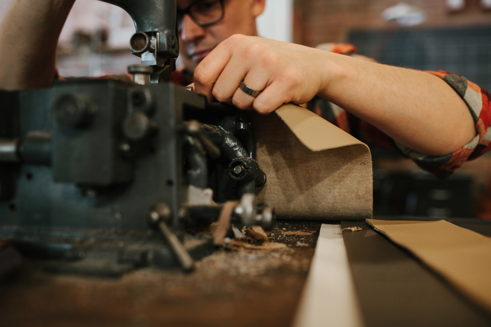 Vintage Fortuna V50s Skiver. Artisan Ryan Motley in Olde Stash Workshop, Montana, USA.  www.oldestash.com