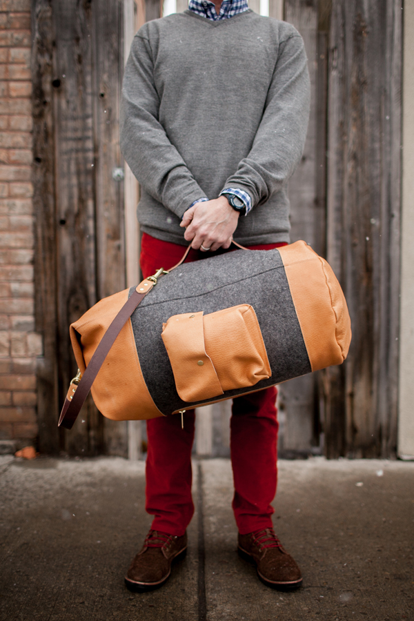 Olde Stash military weekender duffle.  100% Merino Wool & USA made Horween Leather.  Individually crafted by hand in Montana, USA www.oldestash.com