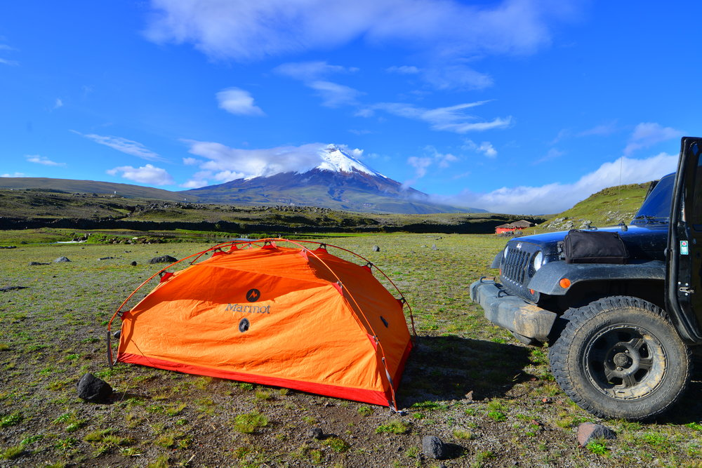 Camping on Cotopaxi.