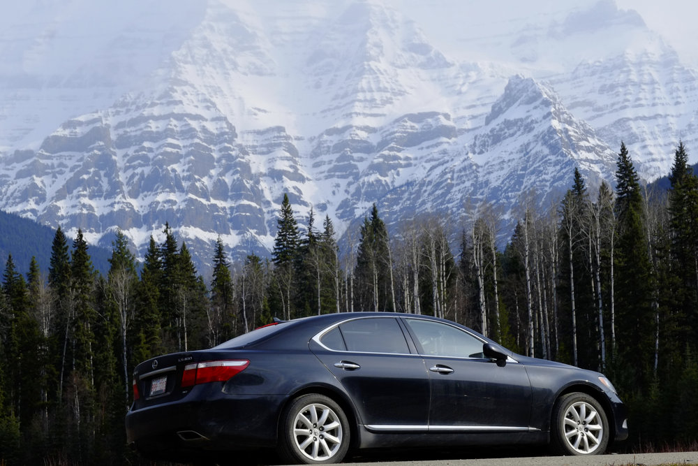 Lexus LS460 AWD in front of Mt. Robson, Alberta, Canada. Inferior to a W140 in every regard.