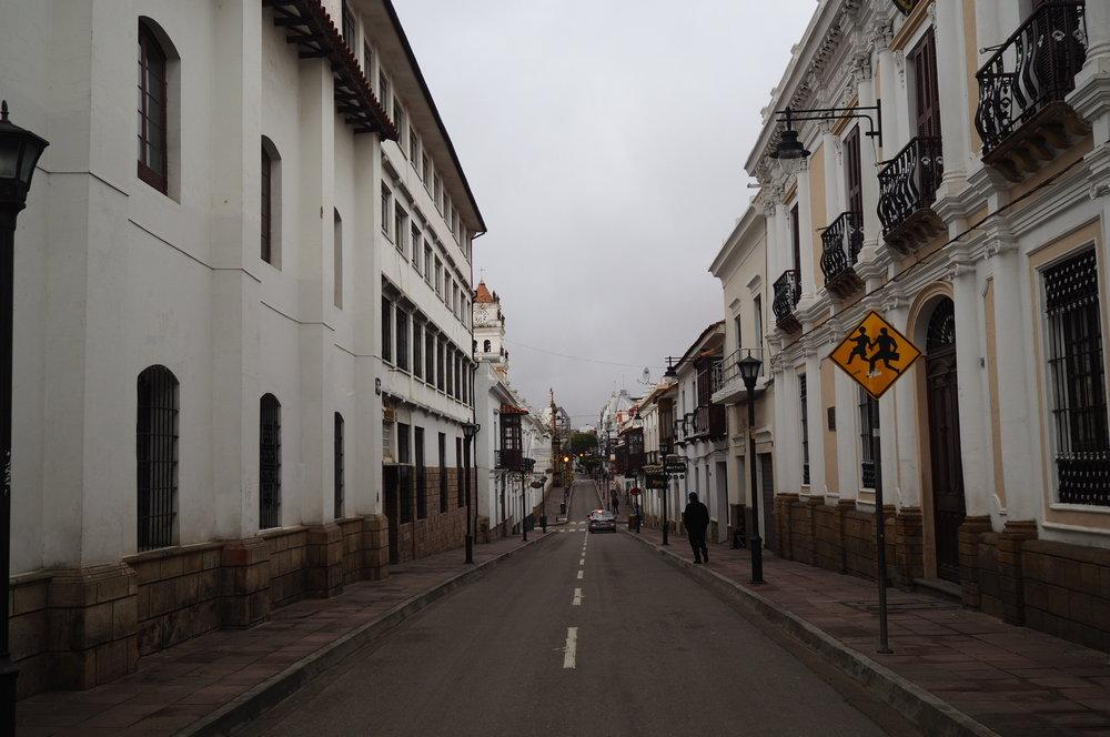The street of Sucre, Bolivia.
