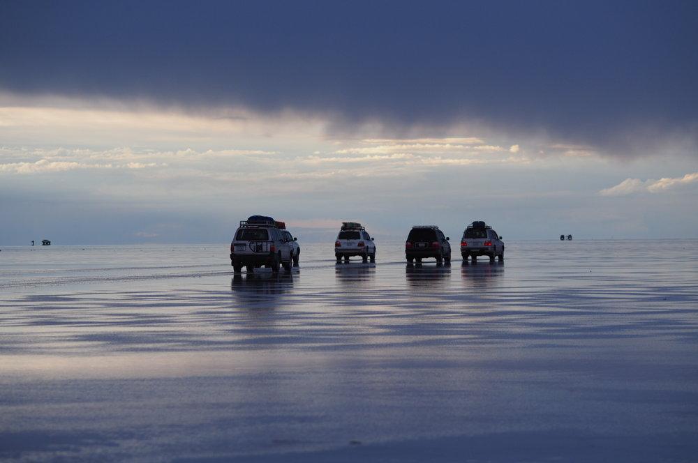 Driving on the Uyuni Salar Flat.