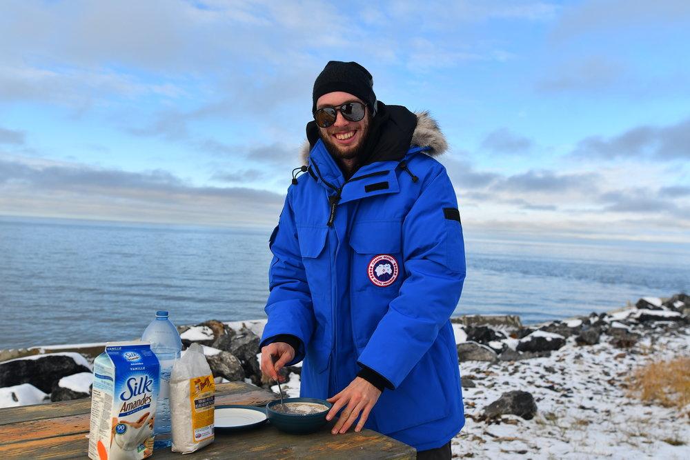 Making buckwheat pancake by the arctic ocean.