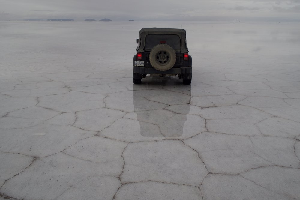 Good life decision = driving a Jeep on the largest salt flat in the world.