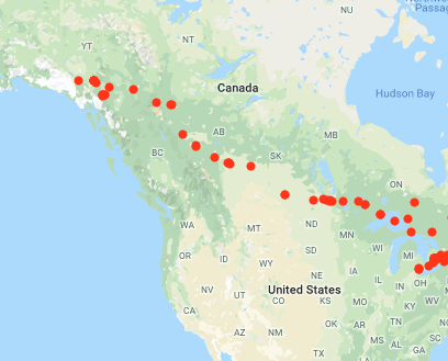 Cross-canada roadtrip map