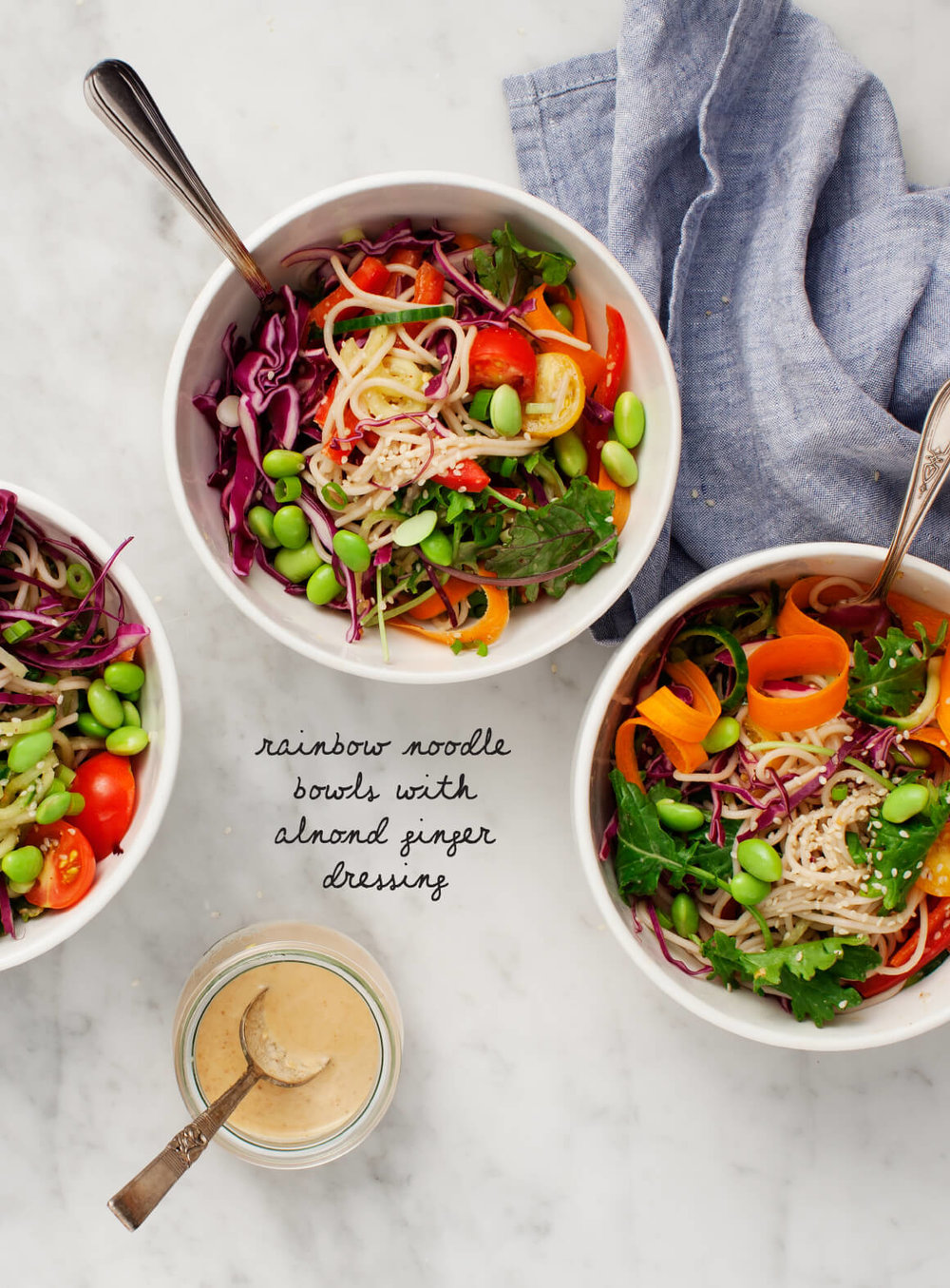 Rainbow Bowls with an almond dressing