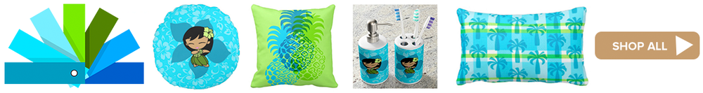 Turquoise, Teal, Lime Green and Ocean Blue Color Story