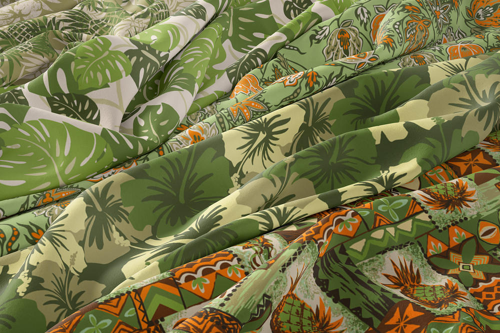 Palm Greens and Tropical Camo Hawaiian Fabrics