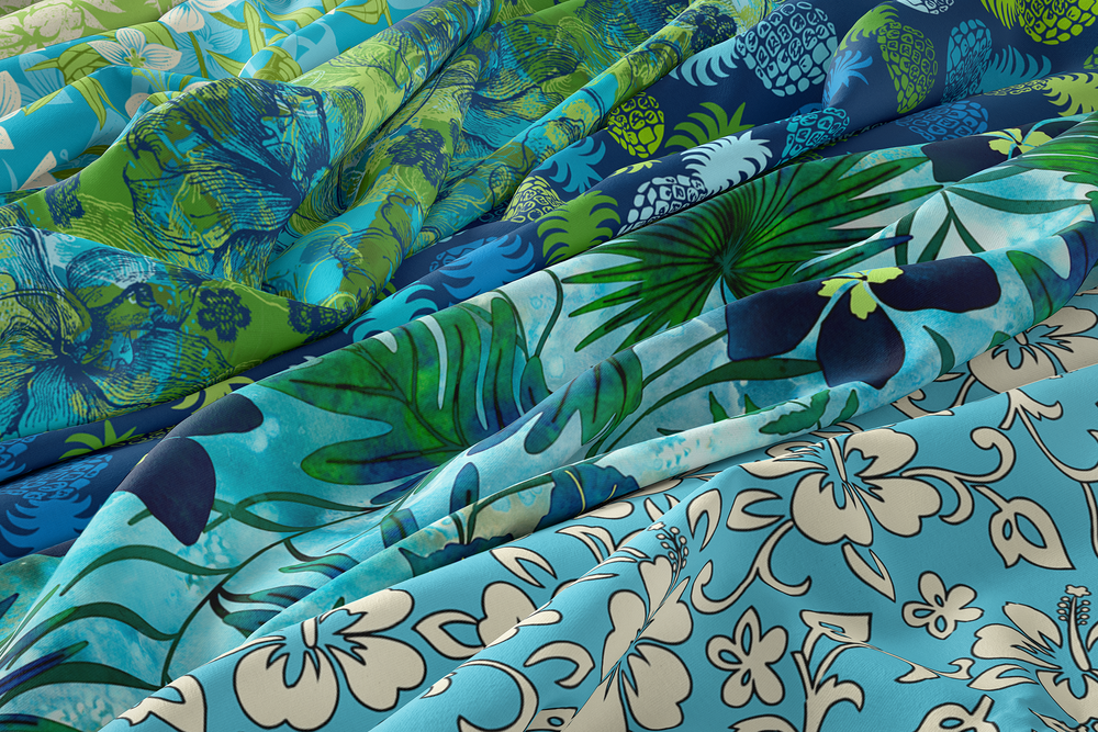 Oceanic Teals and Tropical Cools Hawaiian Fabrics