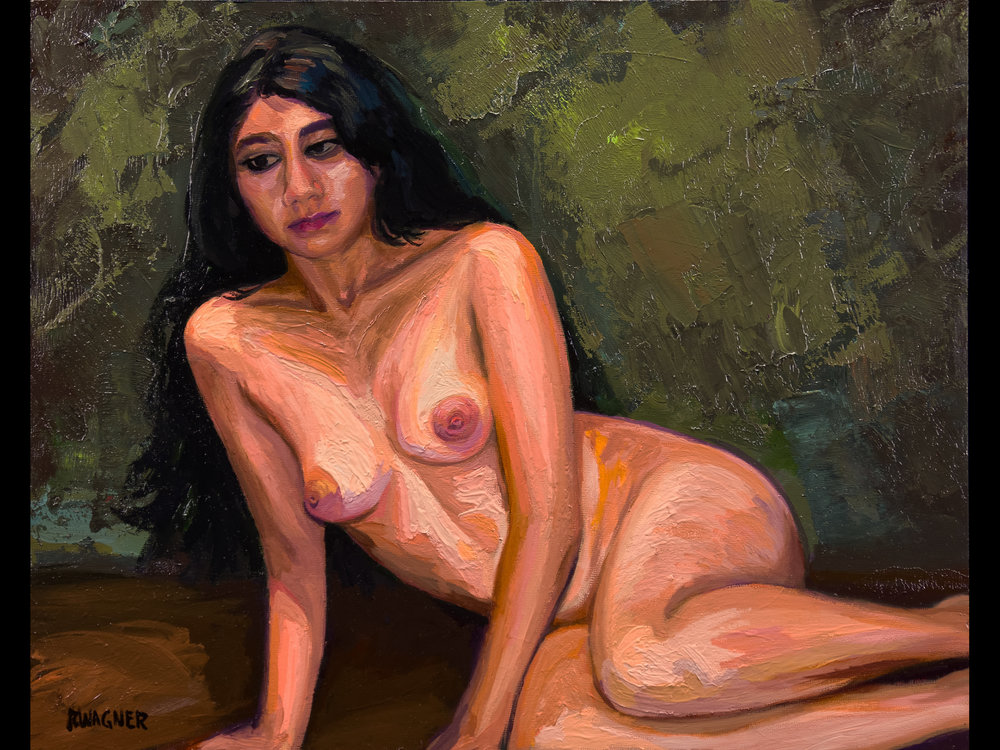 "Nude Light Study, 16"" x 20"" oil on canvas panel, framed"