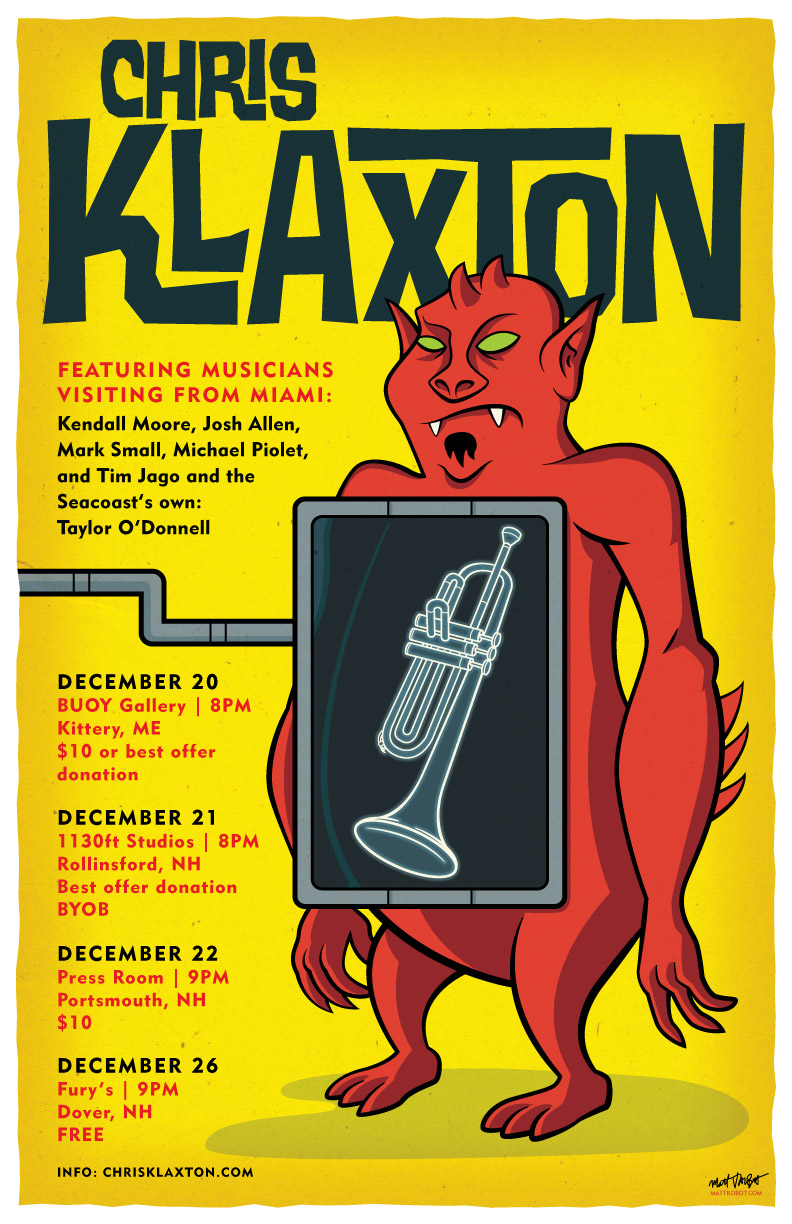 Chris Klaxton gig poster by Matt Talbot