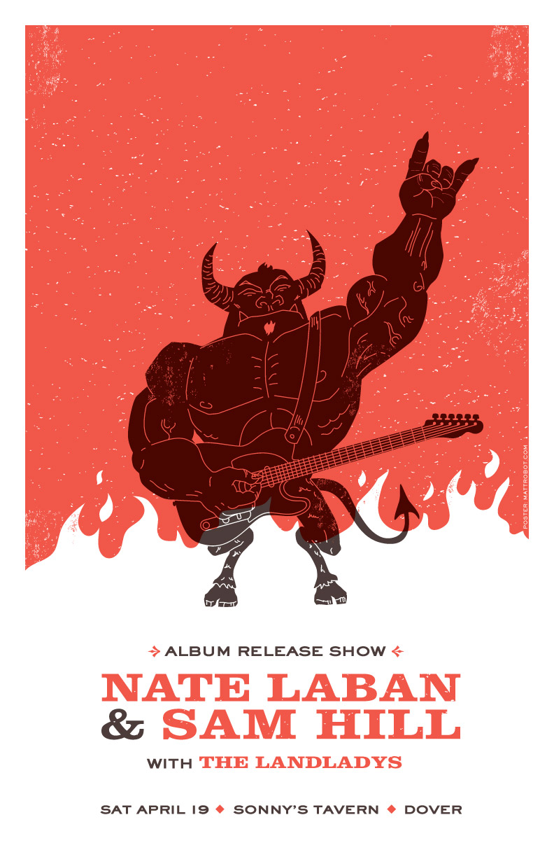 Nate Laban and Sam Hill gig poster by Matt Talbot