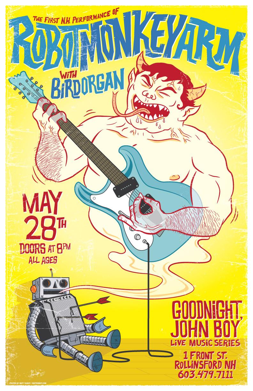 Robotmonkeyarm gig poster by Matt Talbot