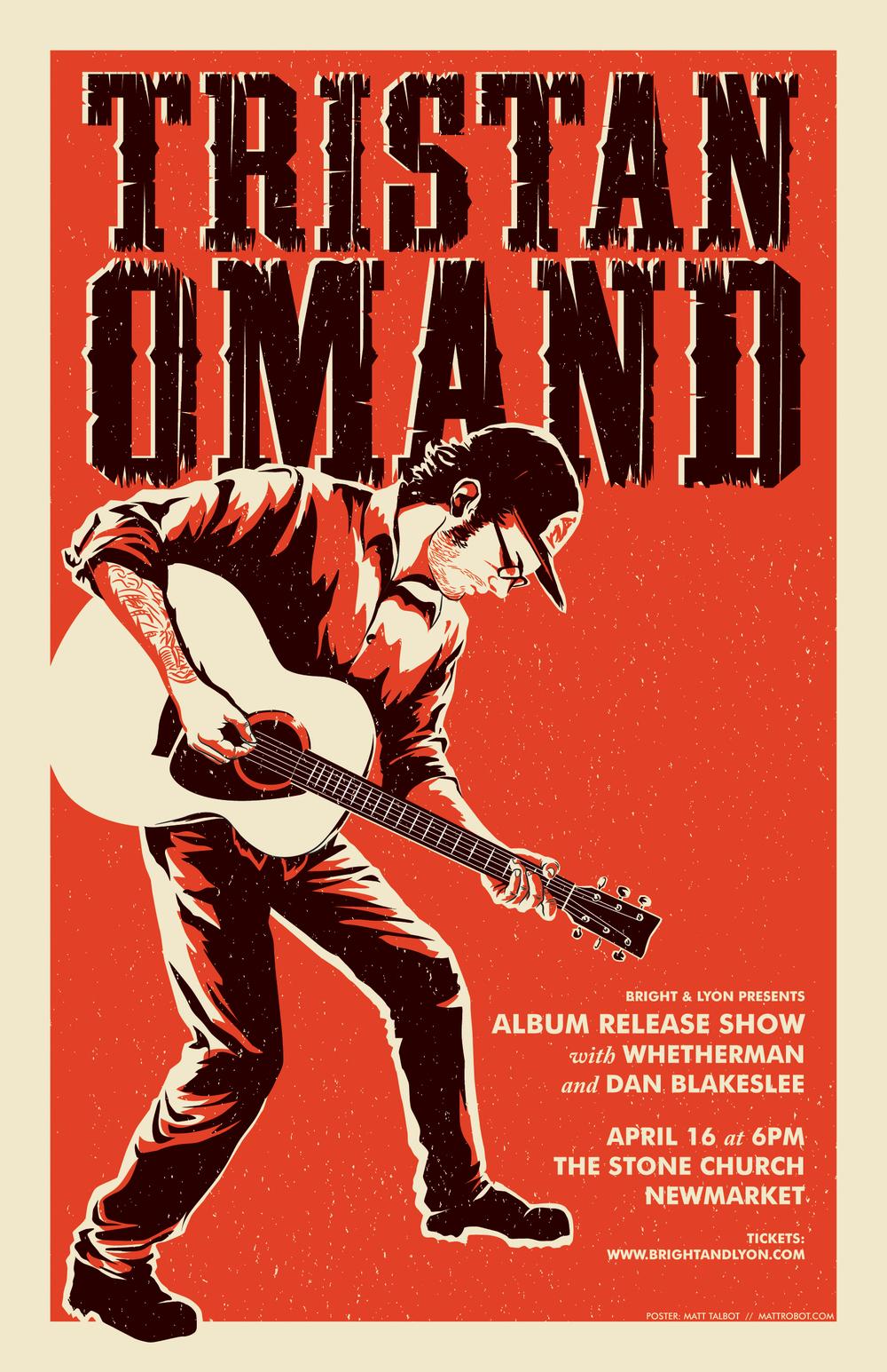 Tristan Omand gig poster by Matt Talbot