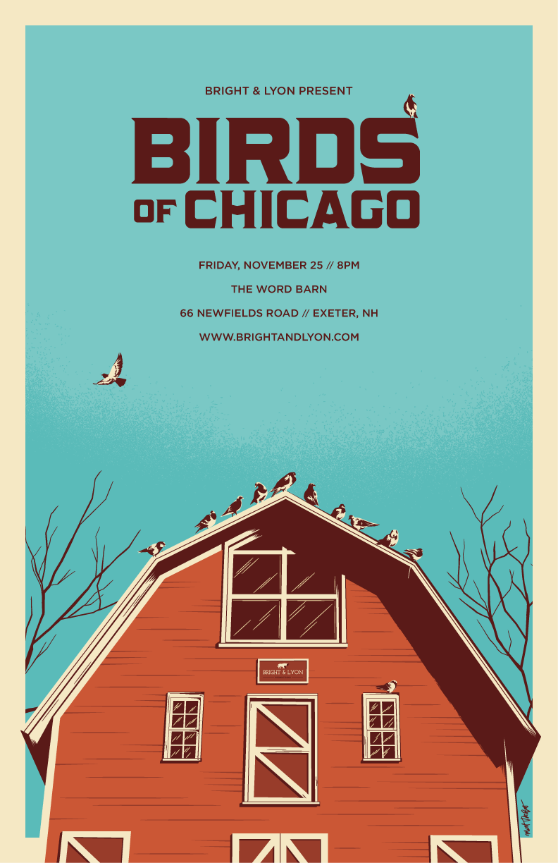 Birds of Chicago gig poster by Matt Talbot