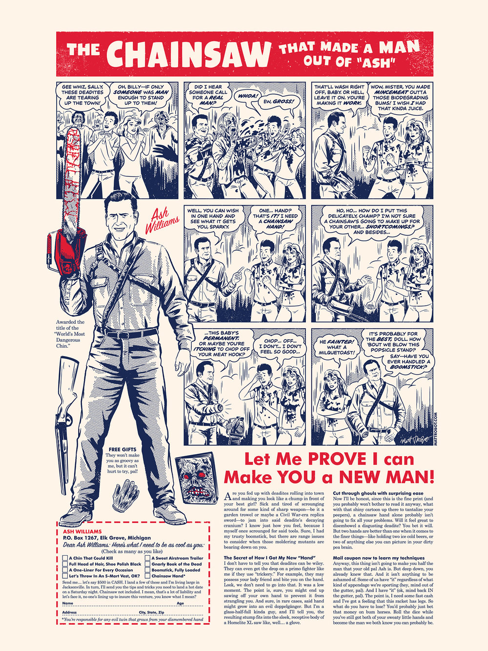 Ash Vs. Evil Dead print for Gallery 1988 by Matt Talbot