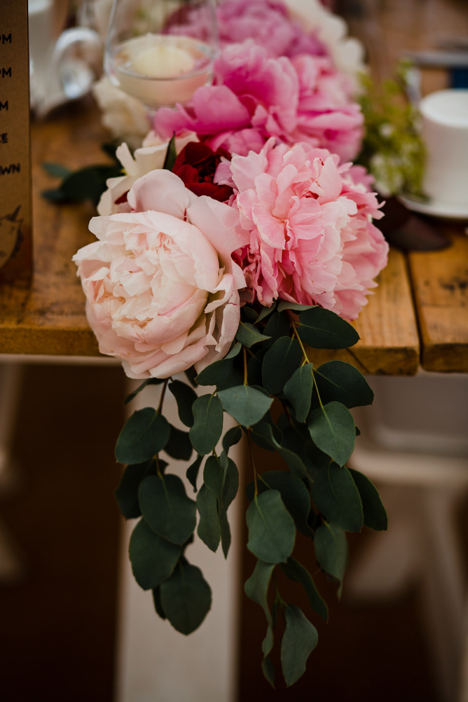 Peonies wedding table centres