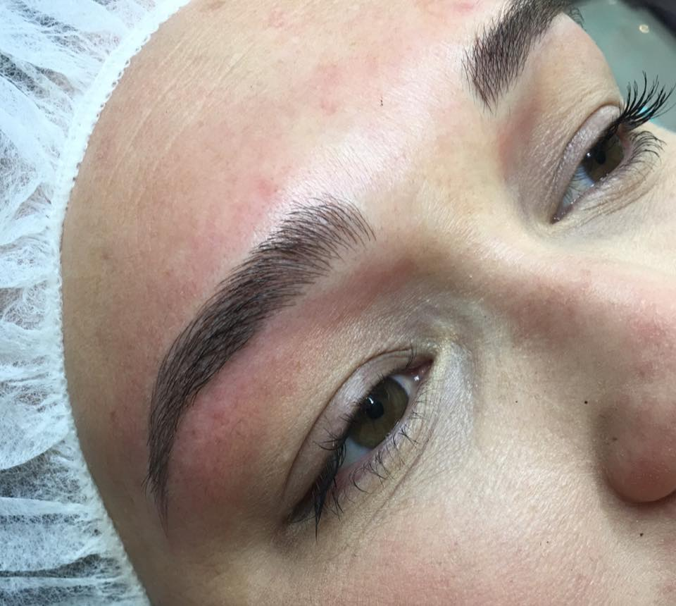 eyebrow microblading blonde hair. freshly microbladed brows by amy miller eyebrow microblading blonde hair