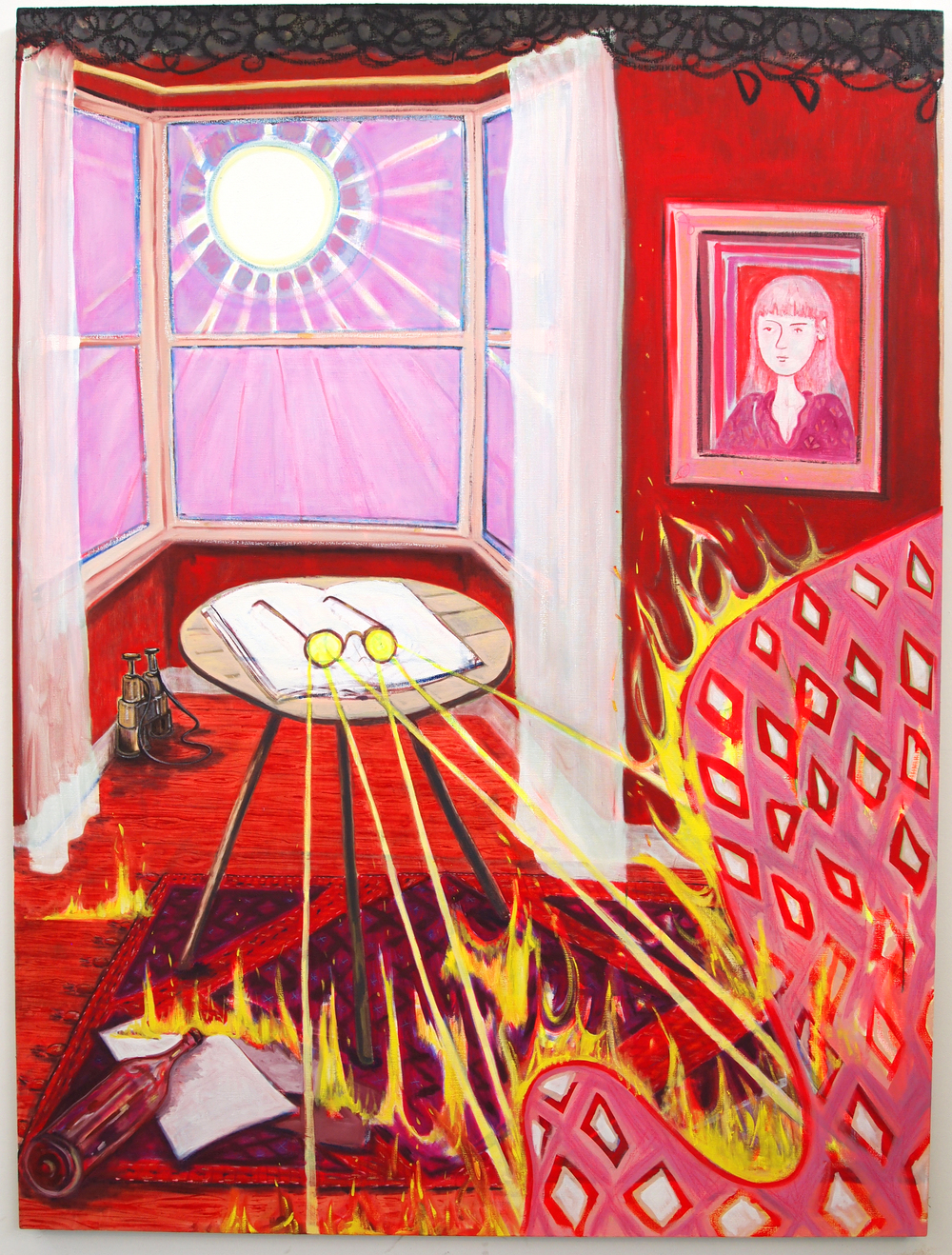Sun in a Red Room  Oil on Flax  150 x 200cm