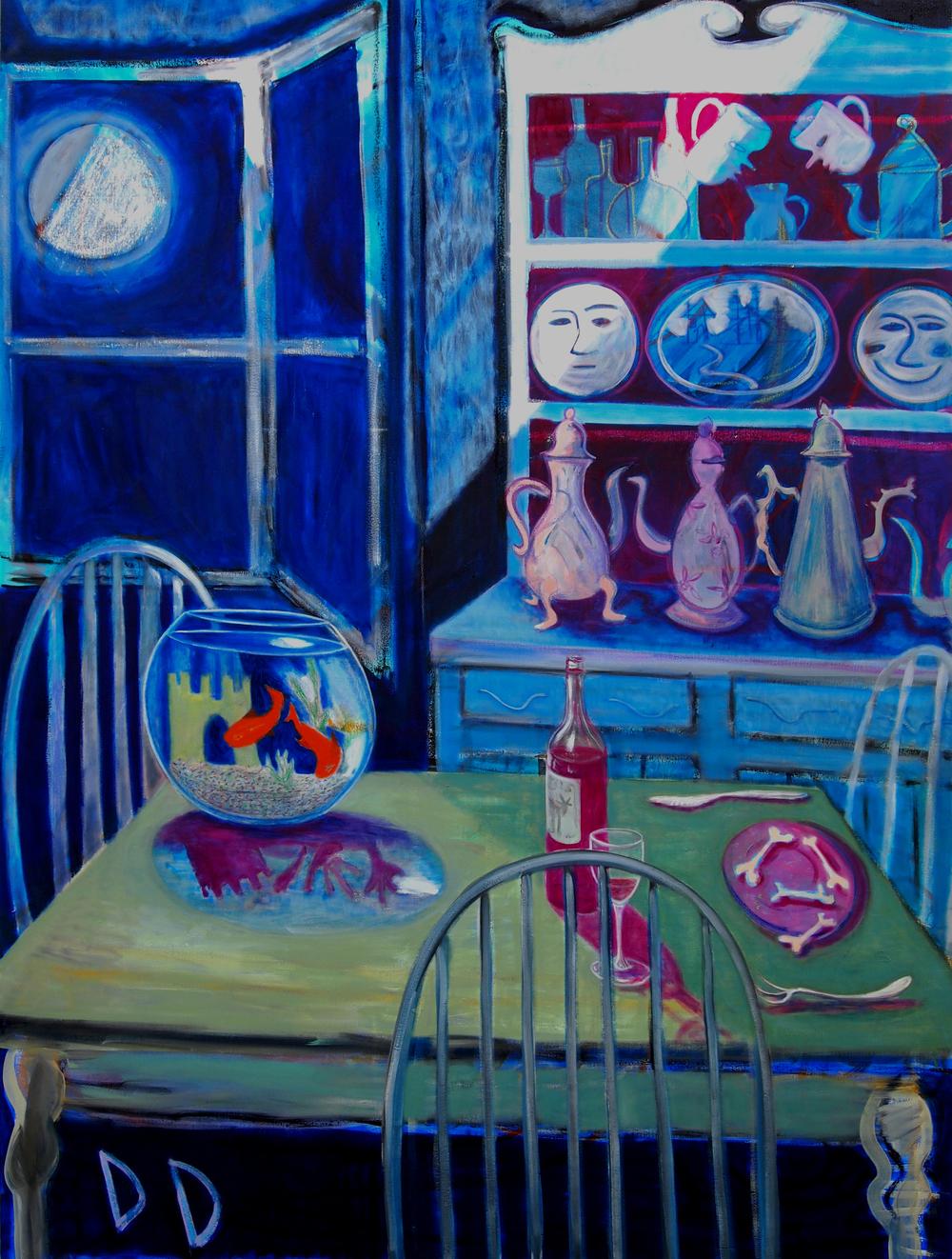 Moon in a Blue Room  Oil on Linen  150 x 200cm  2015