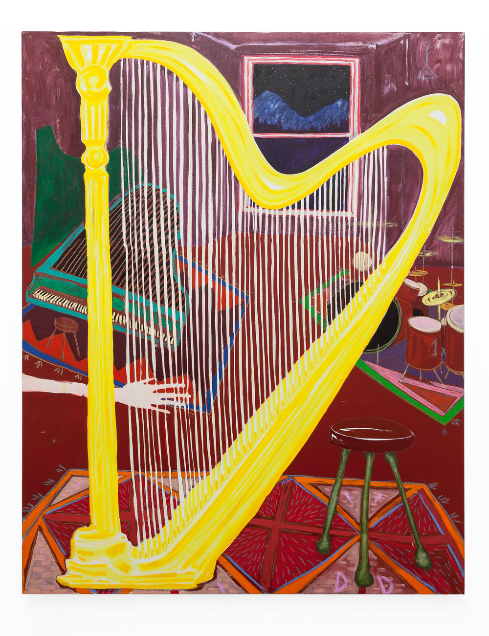 The Music Room (please don't touch the harp)  Oil on Cotton  110 x 150 cm