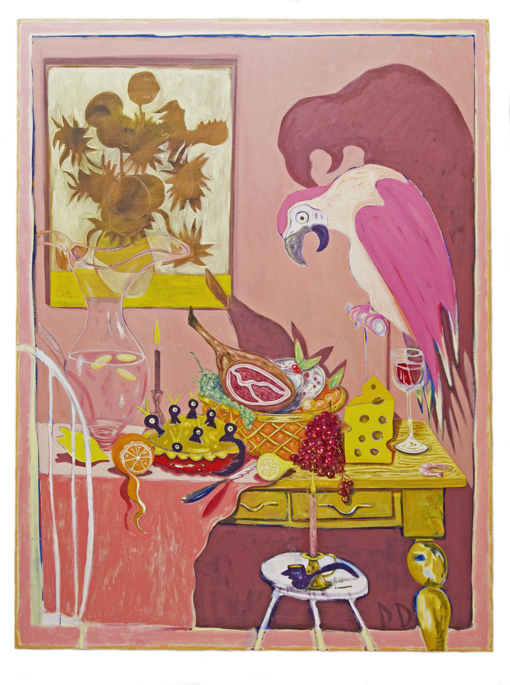Long Table With Birds  Oil on Flax  150 x 200 cm