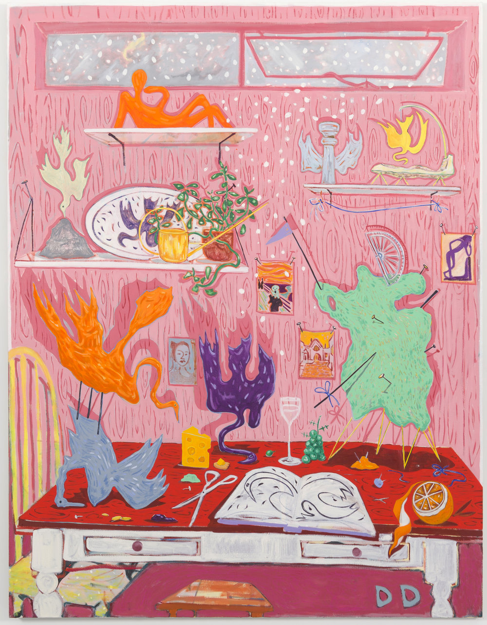 Red Table with Maquettes  Oil on Flax  170 x 220 cm