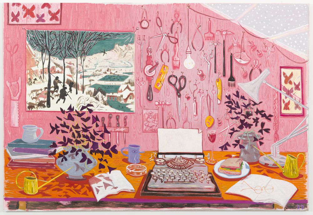 Workbench with Underwood  Oil on Flax  250 x 170 cm