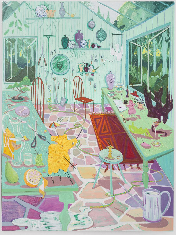 Garden Studio 1  Oil on Flax  150 x 200 cm  2018