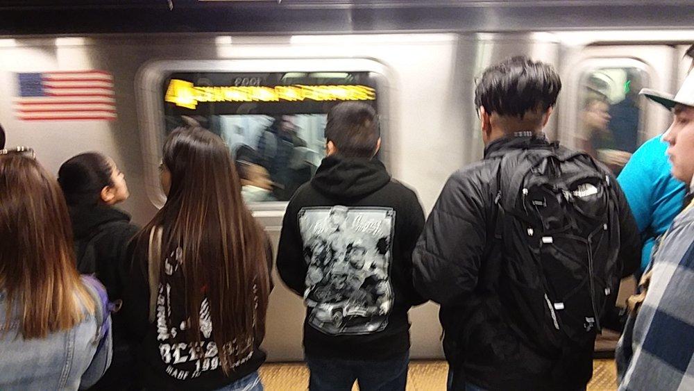 Getting around via subway.