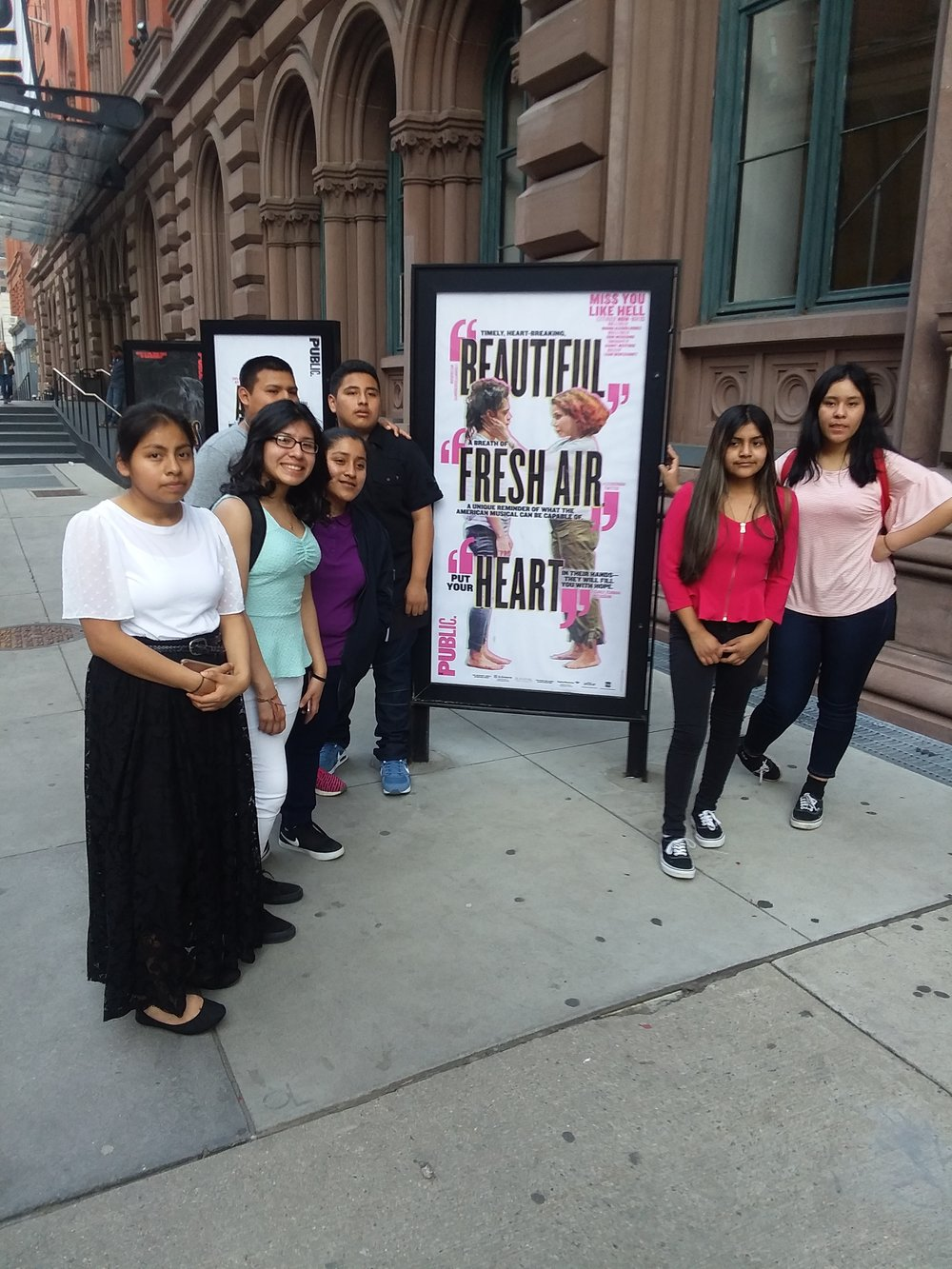 Students (some of them) outside The Public Theater