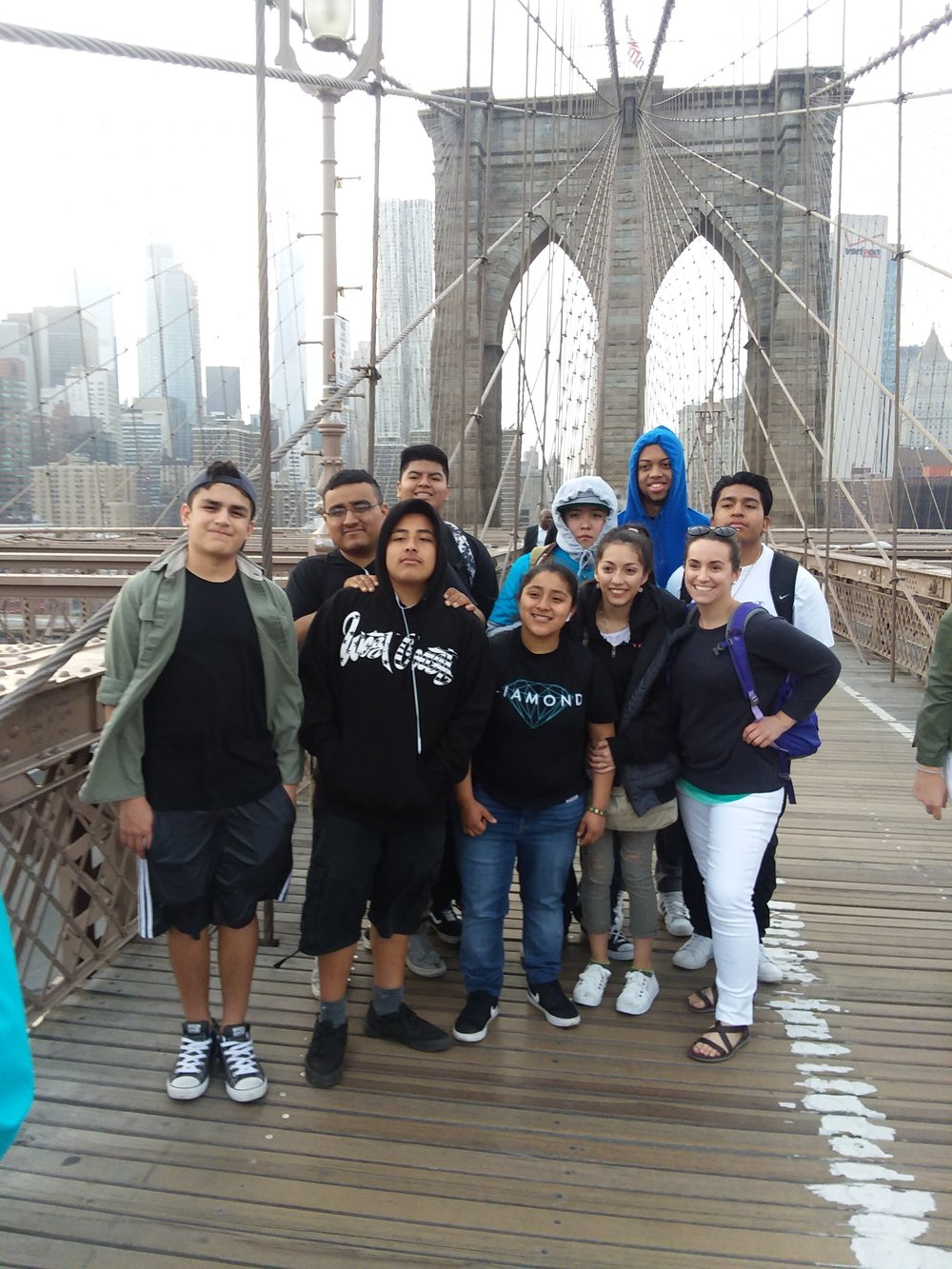 Students on the Brooklyn Bridge