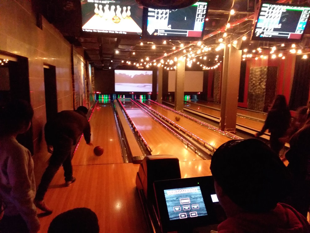 Bowling in Times Square at 10:30 p.m., last night