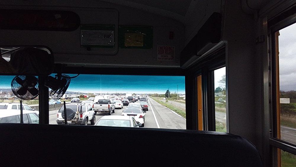 Safely back in Washington, heading north on the I-5 Freeway