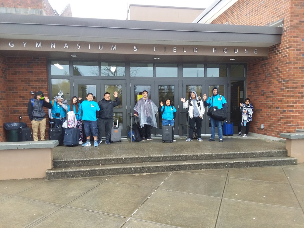 Safely back in Mount Vernon . . . at MV High School (awaiting pick up by families)
